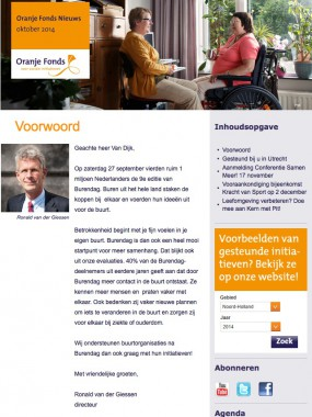 Oranjefonds nieuwsbrief